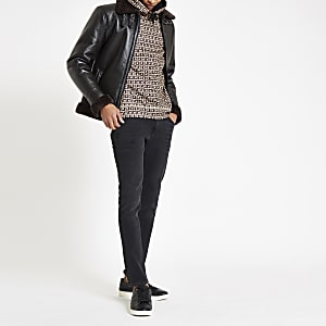 Sid – Schwarze, vorgewaschene Skinny Jeans