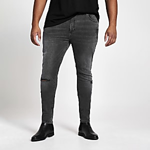 Big and Tall - Zwarte wash ripped jeans