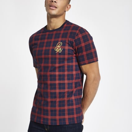 Navy check R96 slim fit T-shirt