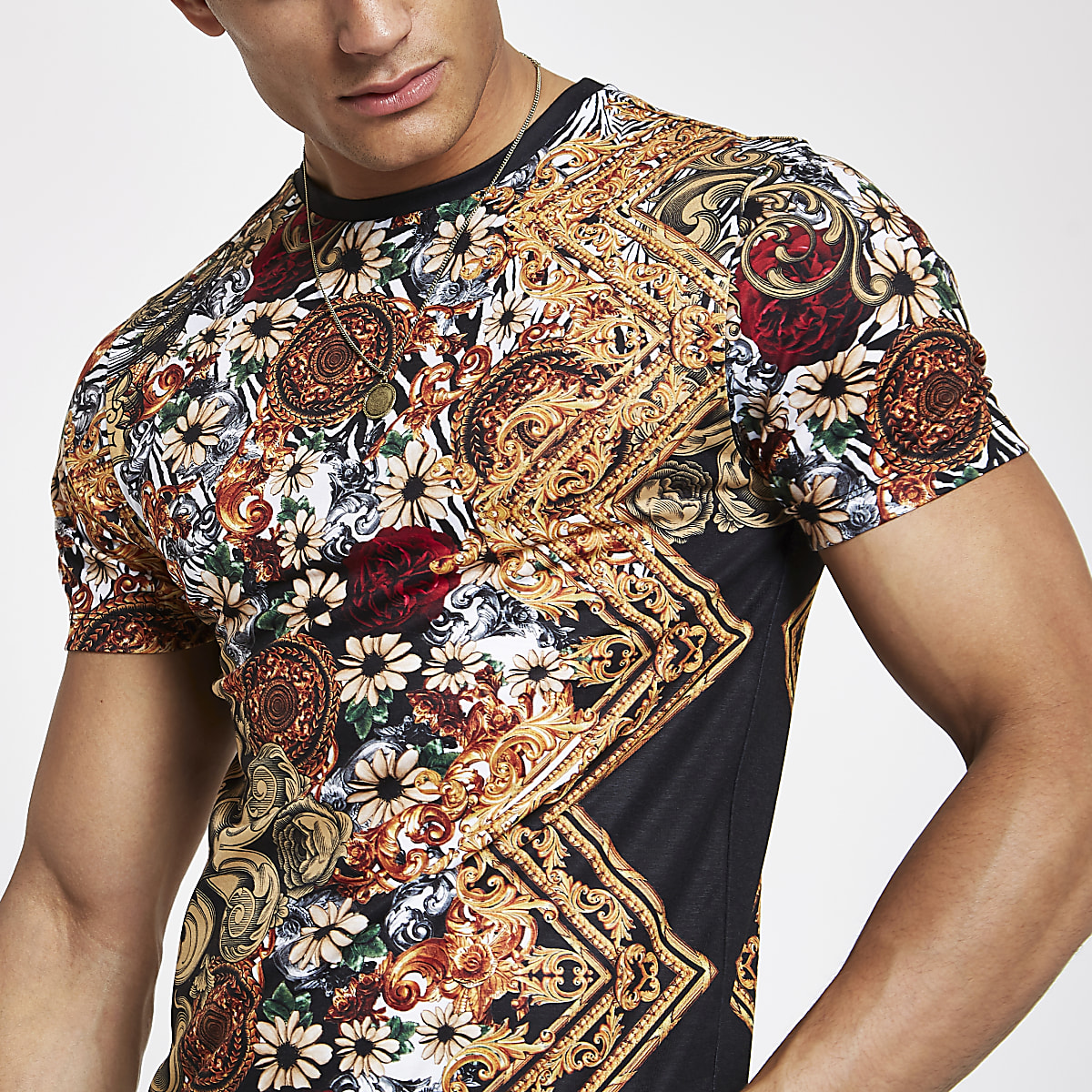 Black zebra baroque print slim fit T-shirt