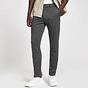 Graue, elastische Super Skinny Fit Hose mit Karomuster