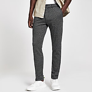 Pantalon super skinny stretch à carreaux gris