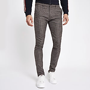 Brown houndstooth stretch super skinny pants
