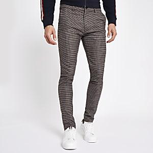 Pantalon super skinny stretch motif pied-de-poule marron