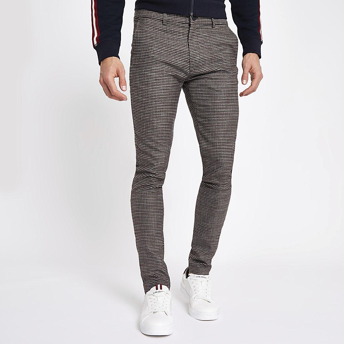 Brown dogtooth stretch super skinny trousers