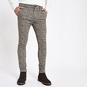 Brown check stretch super skinny fit pants