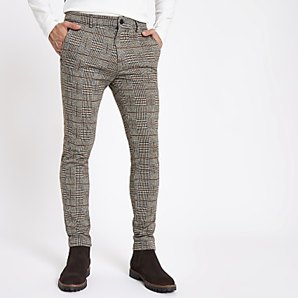 Brown check stretch super skinny fit trousers