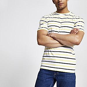 Minimum – Gelbes T-Shirt mit Streifen
