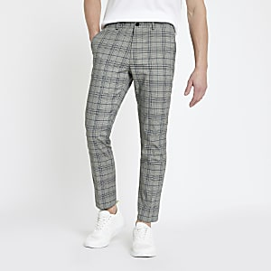2166d054dfe Grey check skinny trousers