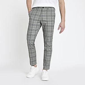 Grey check skinny pants