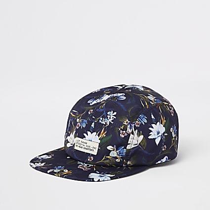 Blue floral five panel cap