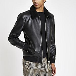 Veste en cuir synthétique noire avec col imitation peau de mouton