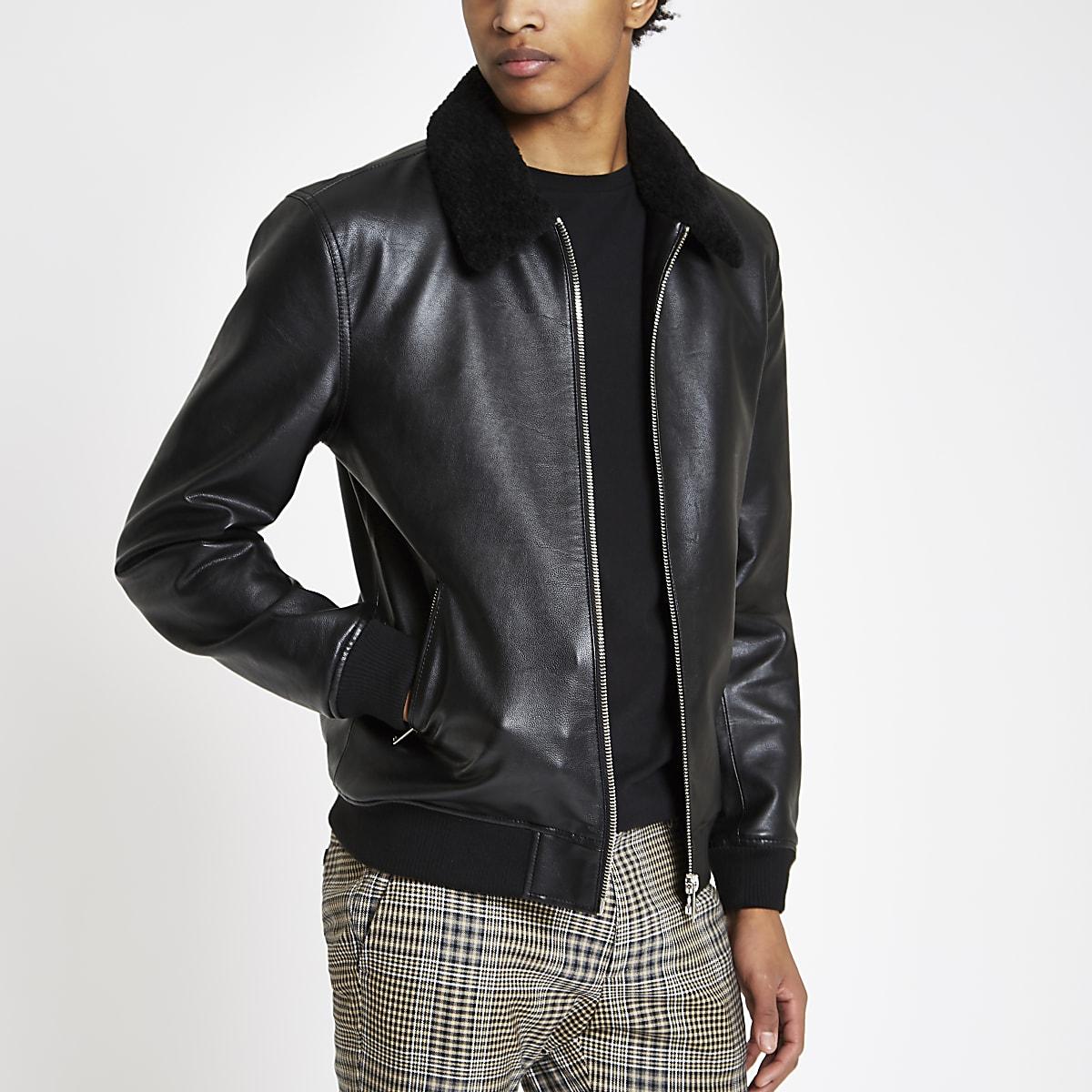 Black faux leather fleece collar jacket