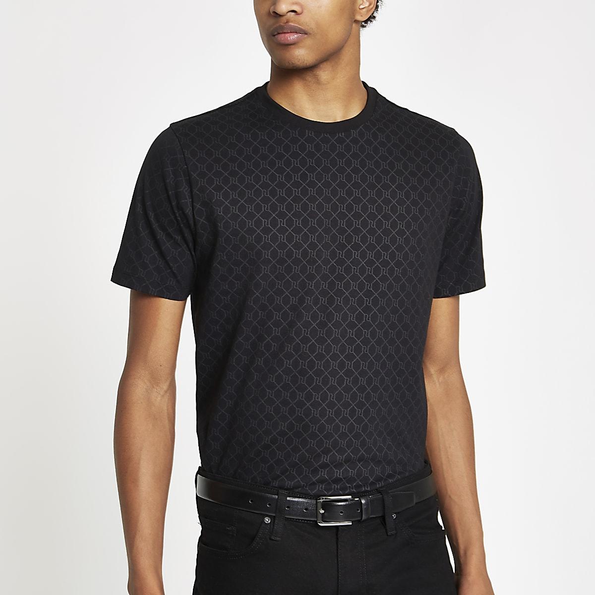 Zwart slim-fit T-shirt met RI-monogram
