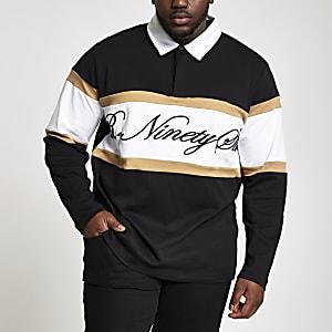 Big and Tall R96 black rugby shirt