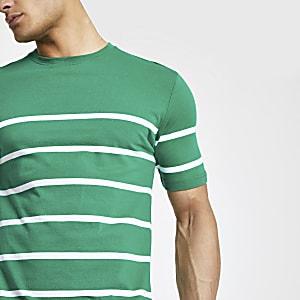 Minimum – Grünes, gestreiftes T-Shirt
