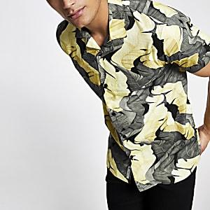 Minimum - Geel overhemd met print en normale pasvorm