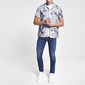 Minimum - Blauw overhemd met print en korte mouwen