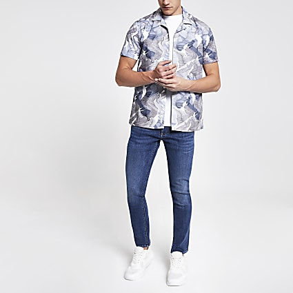 Minimum blue printed regular fit shirt