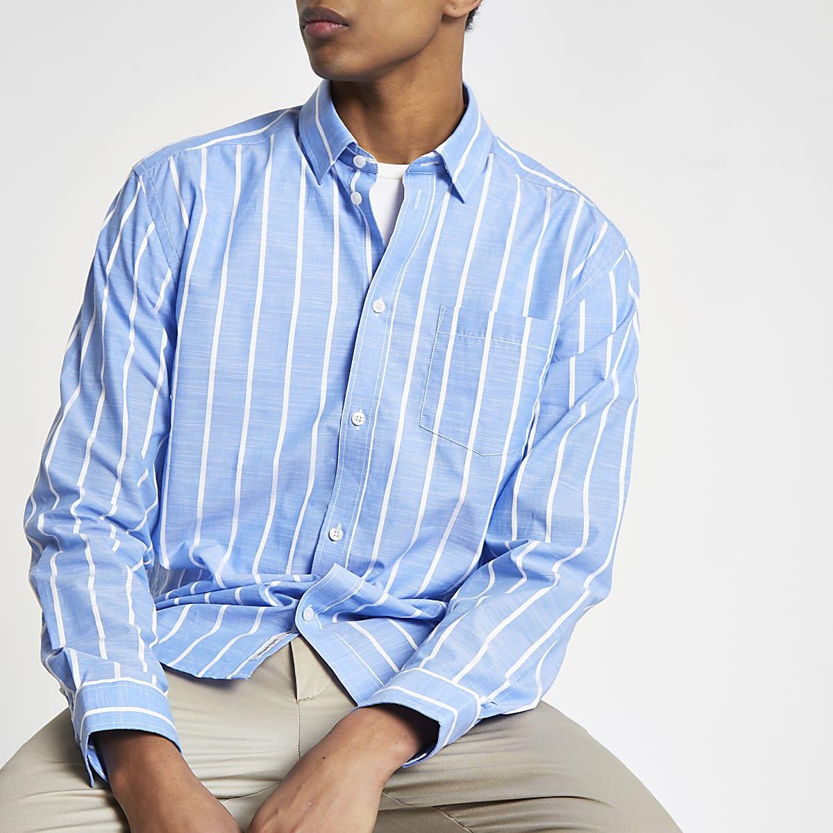 Minimum – Blaues, gestreiftes Langarmhemd