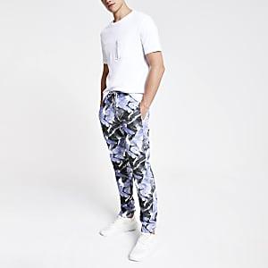 Minimum - Blauwe broek met print