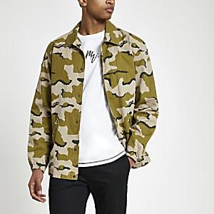 Minimum – Grüne Jacke mit Camouflage-Muster