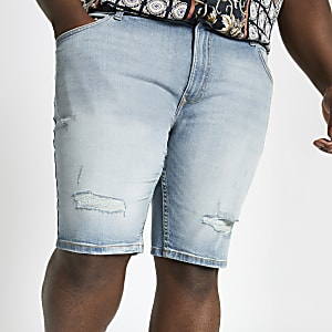 Big and Tall light blue wash denim shorts