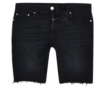 Big and Tall blue black skinny shorts