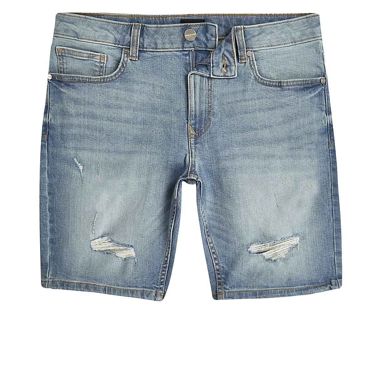 3dc1dbfe03 Light blue Sid skinny ripped denim shorts - Casual Shorts - Shorts - men