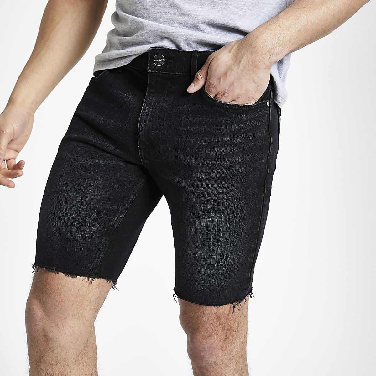 Blue black skinny fit denim shorts