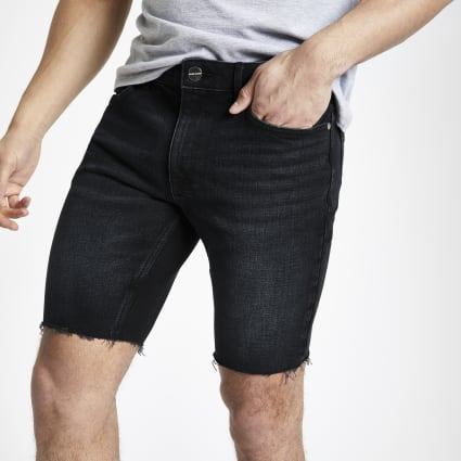 Blue black skinny fit denim shorts