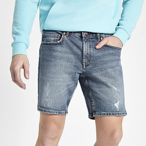 Mid blue slim fit denim shorts