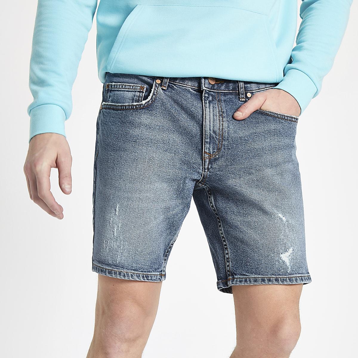 Mid blue slim fit denim shorts