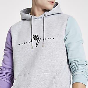 Kiezelkleurige slim-fit hoodie met 'Maison riviera'-print