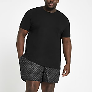 Big and Tall – Short de bain à monogramme RI noir
