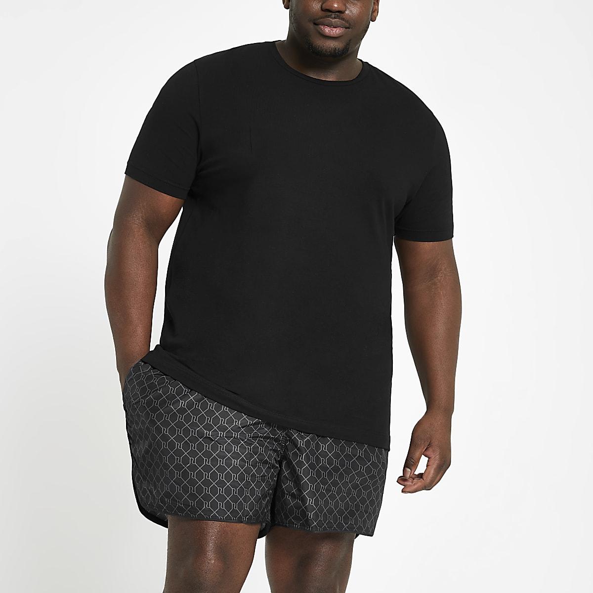 Big and Tall – Short de bain à monogramme RI noir