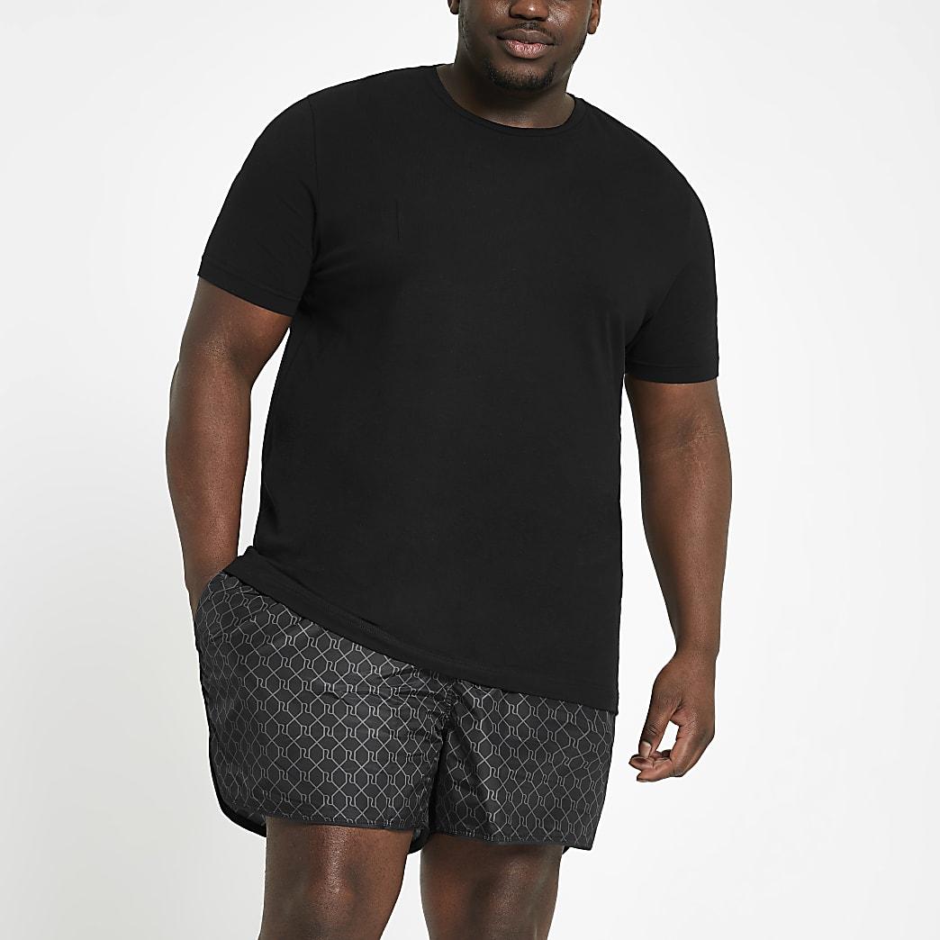 Big and Tall black RI monogram swim shorts