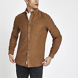 Brown lyocell chest pocket slim fit shirt