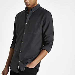 Marineblauw lyocell slim-fit overhemd met borstzak