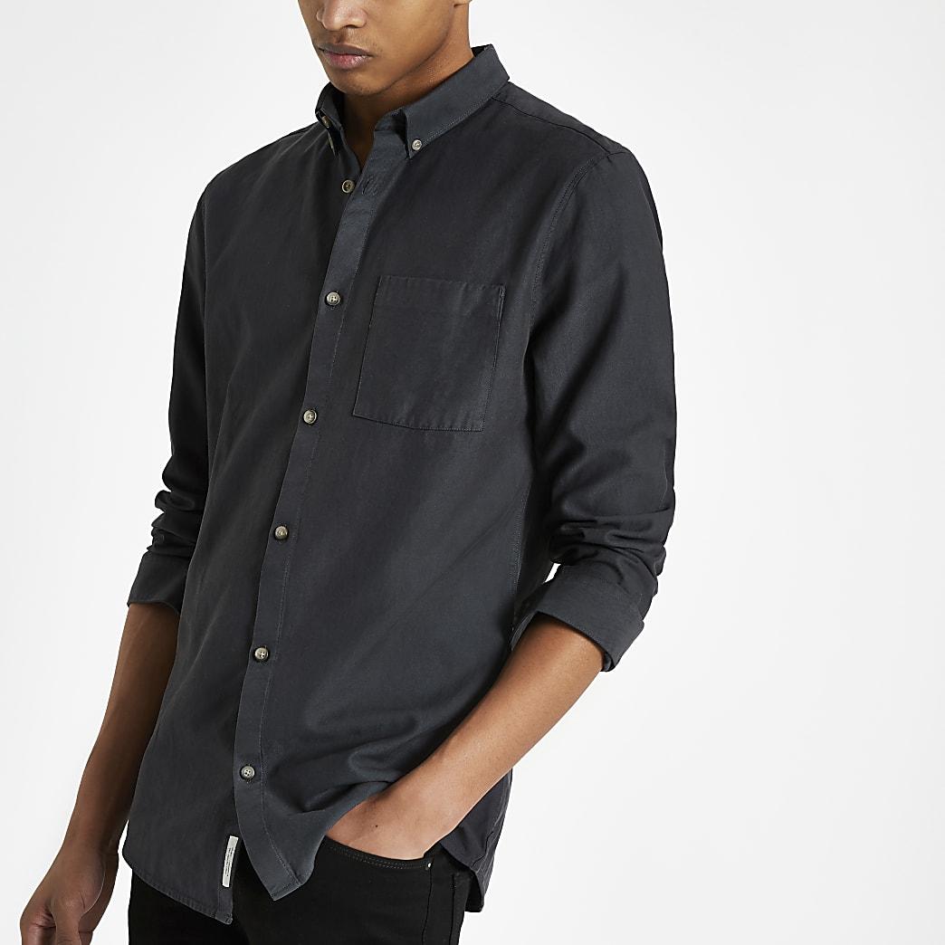 Navy lyocell chest pocket slim fit shirt