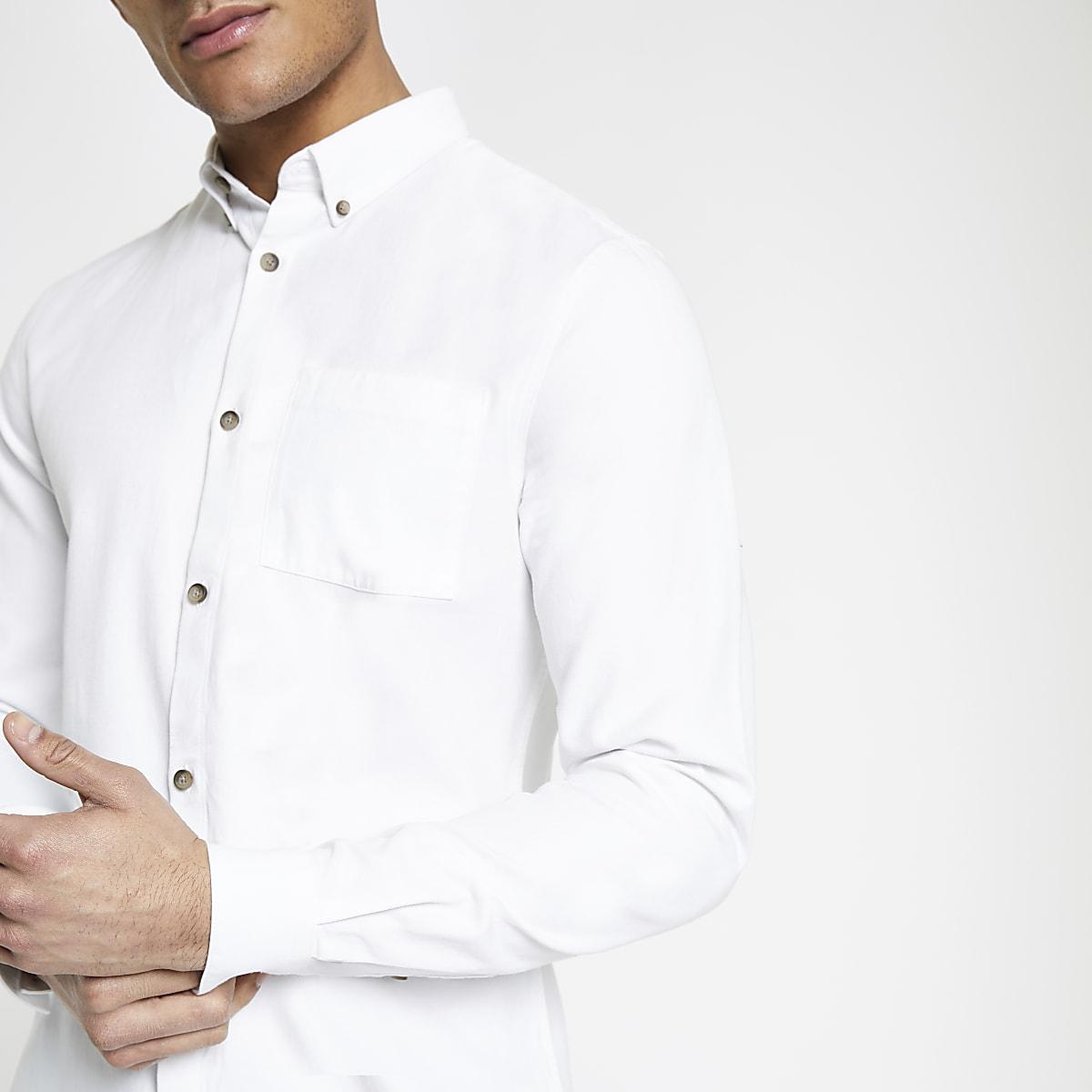 Overhemd Lyocell Slim Fit Lange Borstzak Met Wit Overhemden 7yfYb6gv