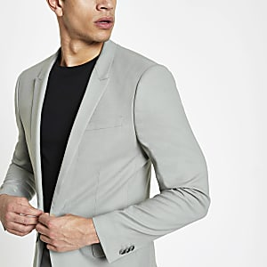 Mint green skinny suit jacket