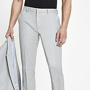 Mint green skinny suit pants