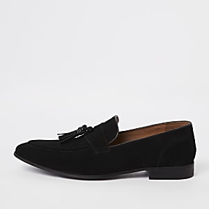 Zwarte suède puntige loafers met kwastjes