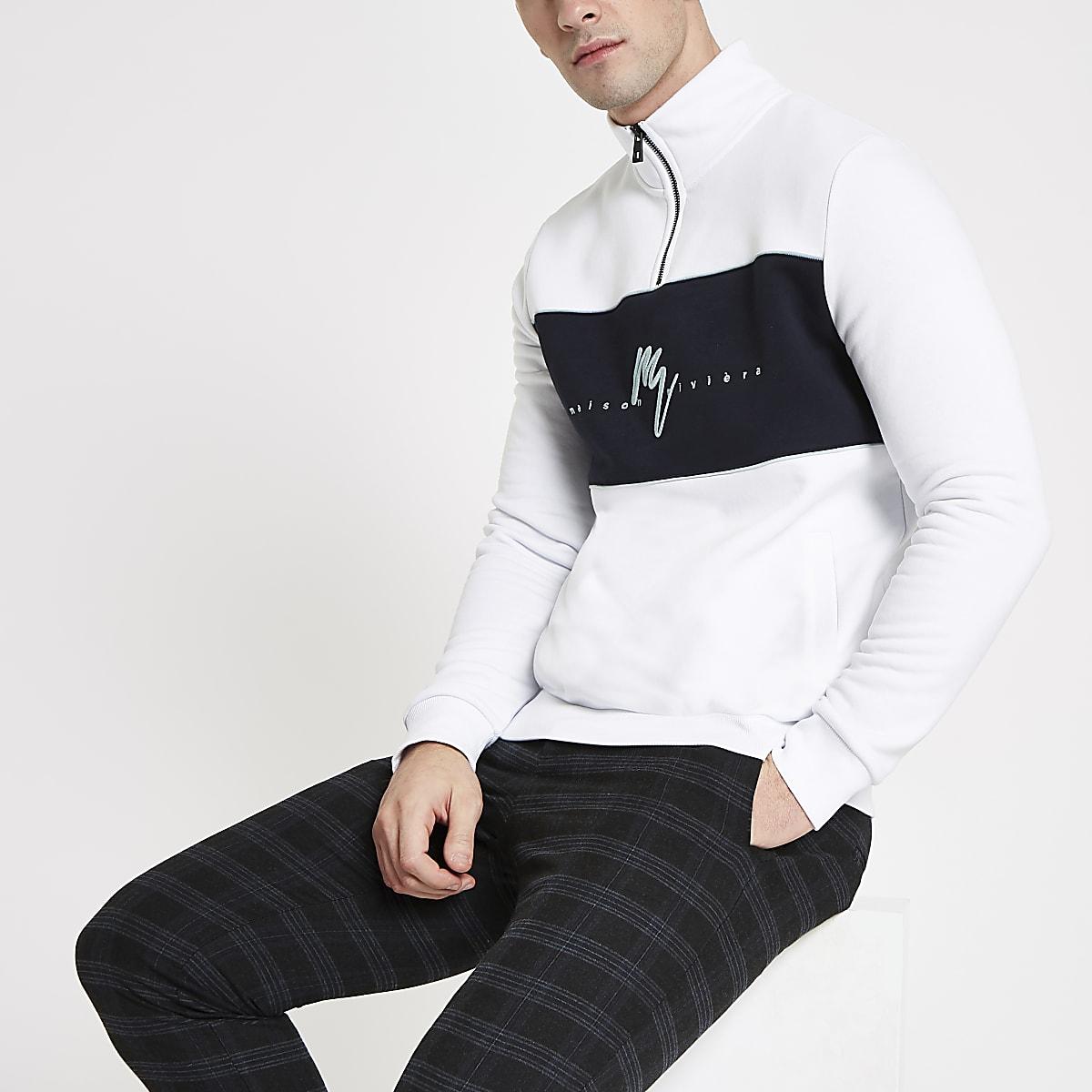 White 'Maison Riviera' slim fit sweatshirt