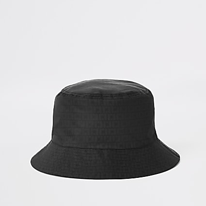 Black RI monogram bucket hat