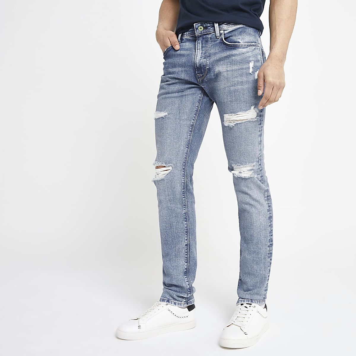 Pepe Jeans light blue Stanley ripped jeans