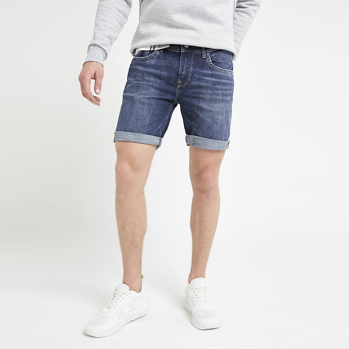 Pepe Jeans blue slim fit denim shorts