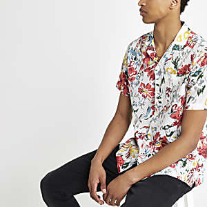 Pepe Jeans red tropical print short shirt