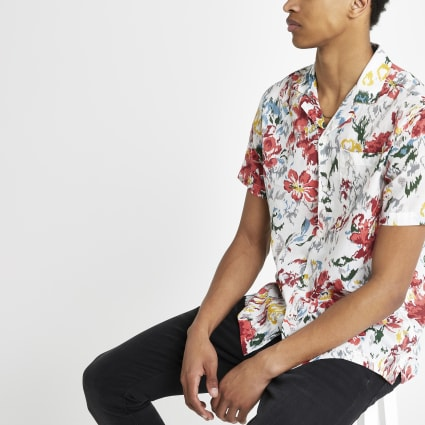 Pepe Jeans red tropical regular fit shirt